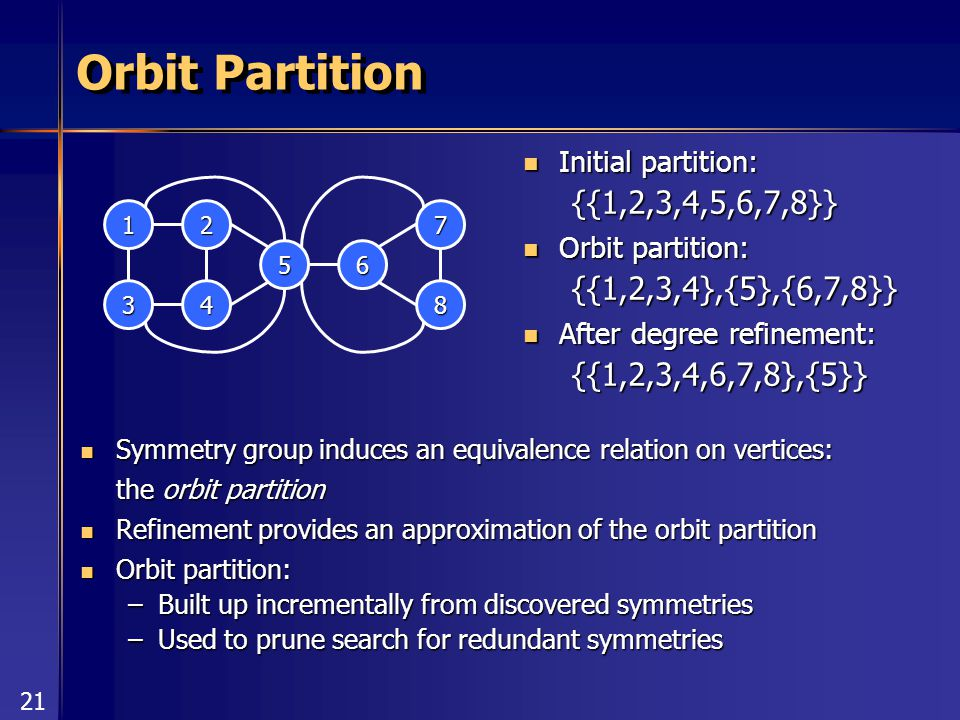 21 Orbit Partition Initial partition: Initial partition:{{1,2,3,4,5,6,7,8}} Orbit partition: Orbit partition:{{1,2,3,4},{5},{6,7,8}} After degree refinement: After degree refinement:{{1,2,3,4,6,7,8},{5}} 6 1 3 2 4 7 8 5 Symmetry group induces an equivalence relation on vertices: Symmetry group induces an equivalence relation on vertices: the orbit partition Refinement provides an approximation of the orbit partition Refinement provides an approximation of the orbit partition Orbit partition: Orbit partition: –Built up incrementally from discovered symmetries –Used to prune search for redundant symmetries