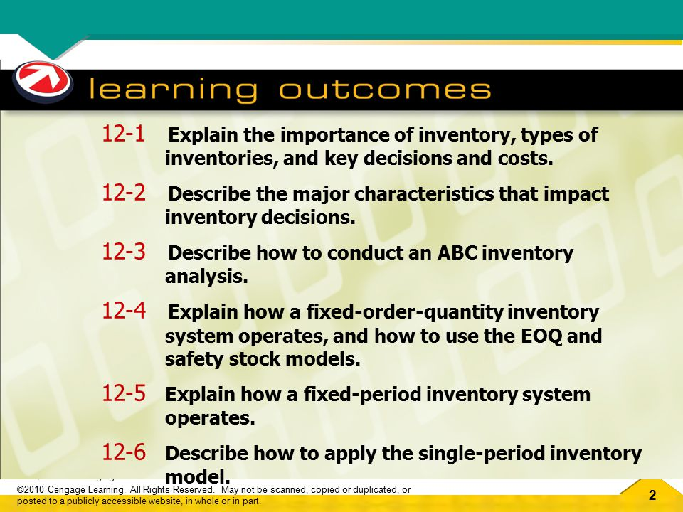 53 OM2, Ch.12 Managing Inventories ©2010 Cengage Learning.