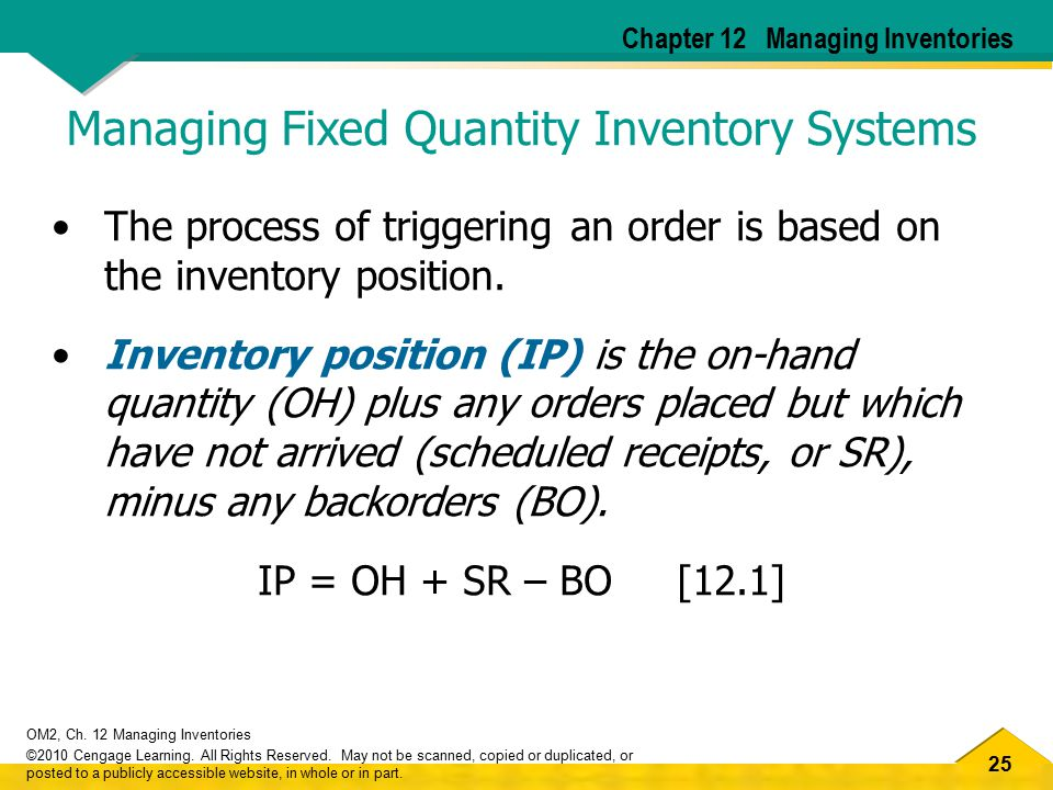 25 OM2, Ch. 12 Managing Inventories ©2010 Cengage Learning. All Rights Reserved. May not be scanned, copied or duplicated, or posted to a publicly acc