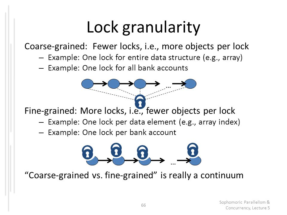 Lock granularity Coarse-grained: Fewer locks, i.e., more objects per lock – Example: One lock for entire data structure (e.g., array) – Example: One l