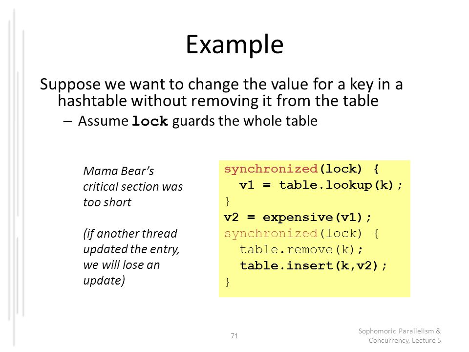 Example Suppose we want to change the value for a key in a hashtable without removing it from the table – Assume lock guards the whole table 71 Sophom