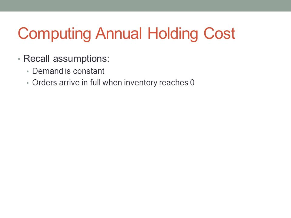 Computing Annual Holding Cost Recall assumptions: Demand is constant Orders arrive in full when inventory reaches 0