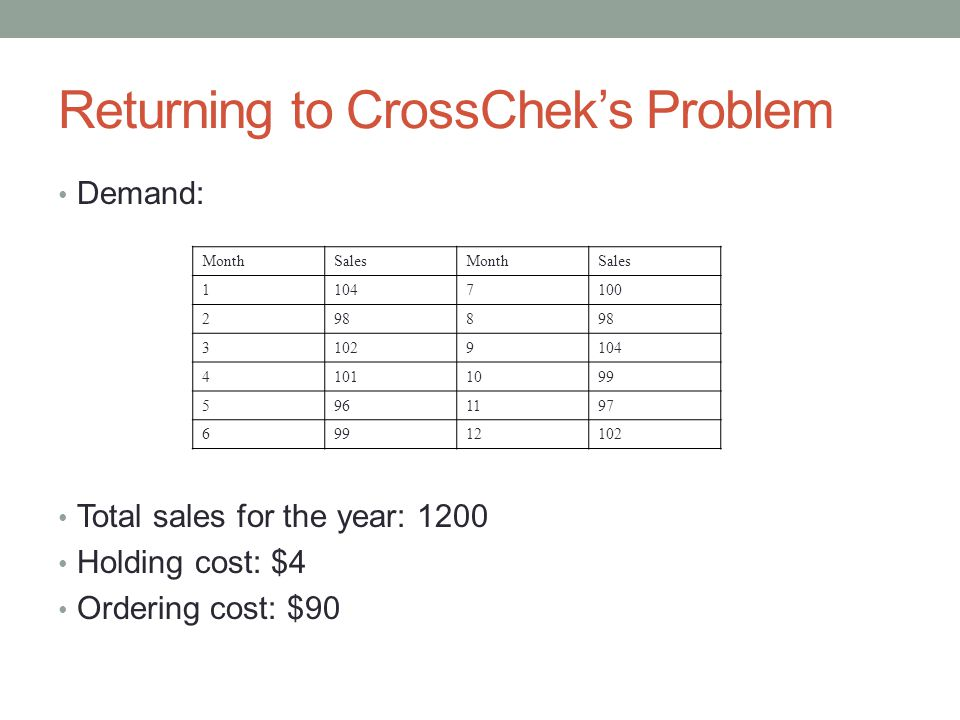 Returning to CrossChek's Problem Demand: Total sales for the year: 1200 Holding cost: $4 Ordering cost: $90 MonthSalesMonthSales 11047100 2988 31029104 41011099 5961197 69912102