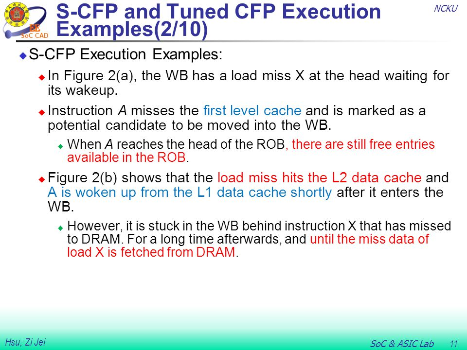 NCKU SoC & ASIC Lab 11 Hsu, Zi Jei SoC CAD  S-CFP Execution Examples:  In Figure 2(a), the WB has a load miss X at the head waiting for its wakeup.