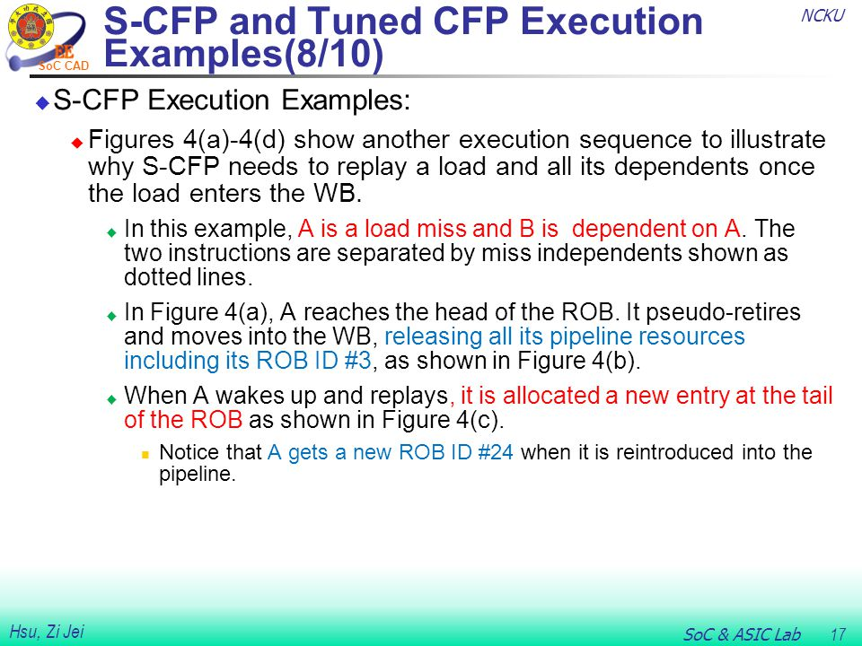 NCKU SoC & ASIC Lab 17 Hsu, Zi Jei SoC CAD  S-CFP Execution Examples:  Figures 4(a)-4(d) show another execution sequence to illustrate why S-CFP needs to replay a load and all its dependents once the load enters the WB.