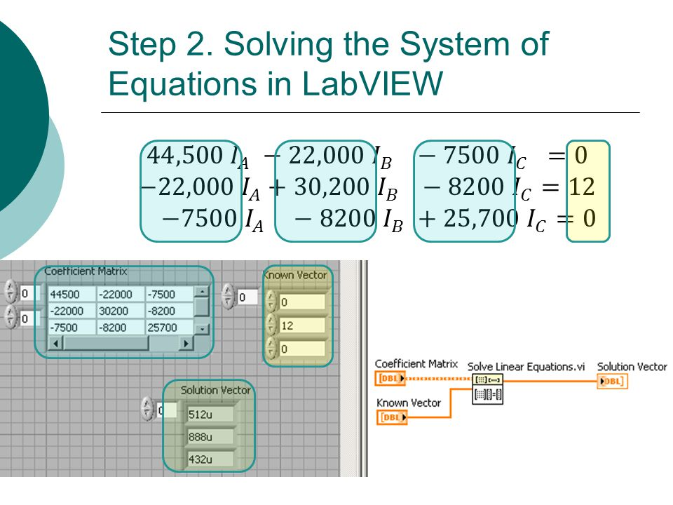 Floyd, Digital Fundamentals, 10 th ed Step 2. Solving the System of Equations in LabVIEW