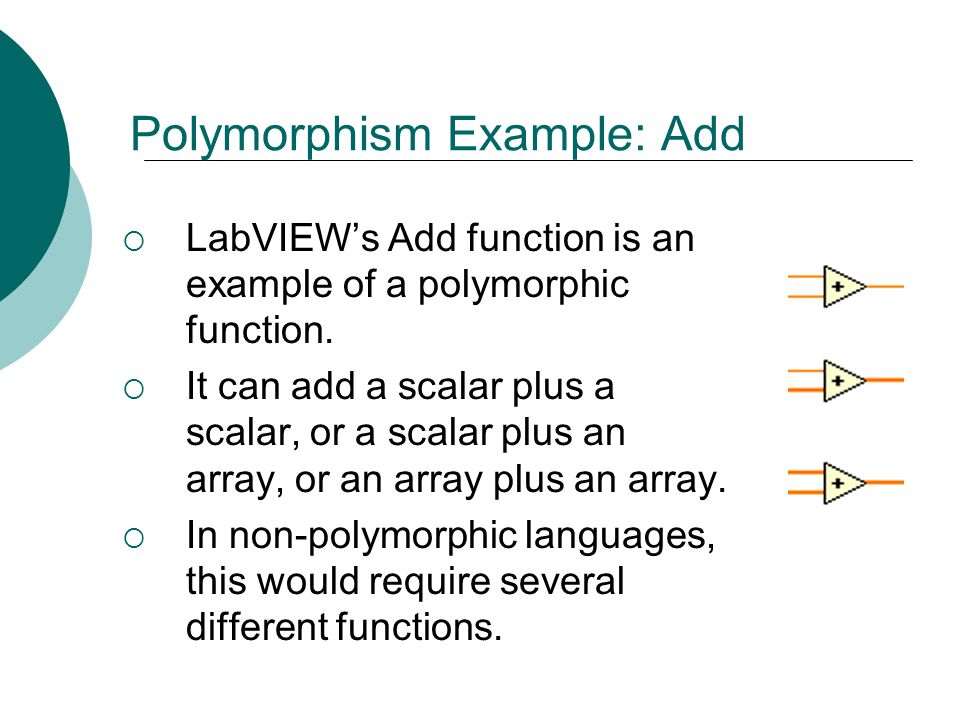 Floyd, Digital Fundamentals, 10 th ed Polymorphism Example: Add  LabVIEW's Add function is an example of a polymorphic function.