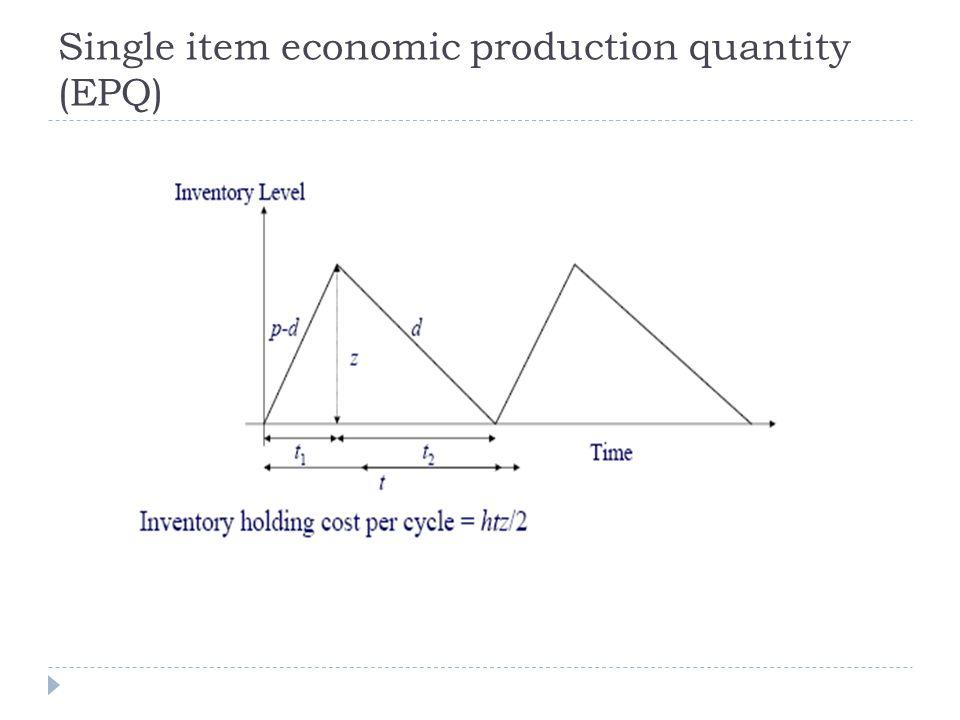 Single item economic production quantity (EPQ)