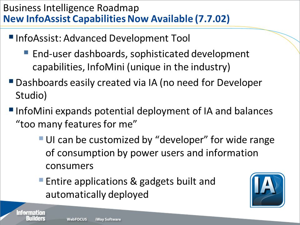 Business Intelligence Roadmap New InfoAssist Capabilities Now Available (7.7.02)  InfoAssist: Advanced Development Tool  End-user dashboards, sophis