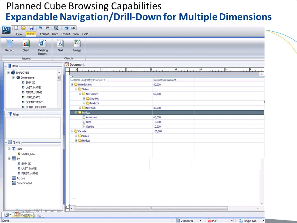 Planned Cube Browsing Capabilities Expandable Navigation/Drill-Down for Multiple Dimensions Copyright 2007, Information Builders. Slide 18