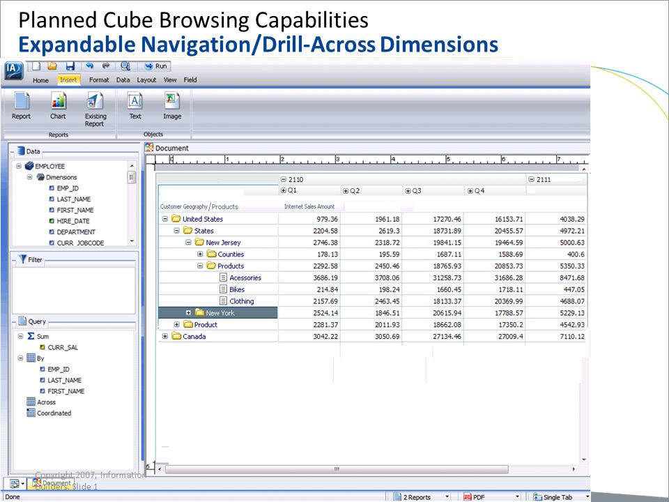 Planned Cube Browsing Capabilities Expandable Navigation/Drill-Across Dimensions