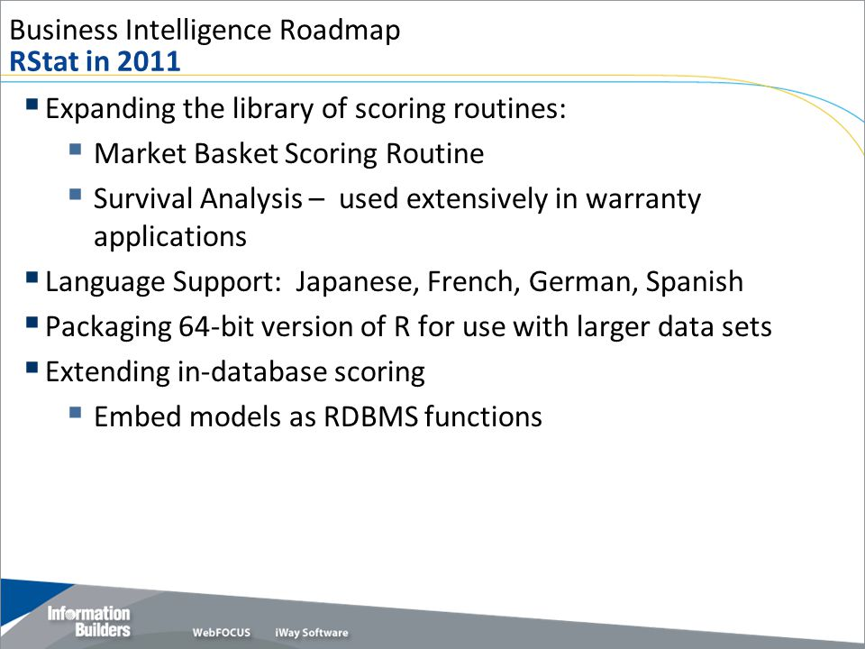 Business Intelligence Roadmap RStat in 2011  Expanding the library of scoring routines:  Market Basket Scoring Routine  Survival Analysis – used ex