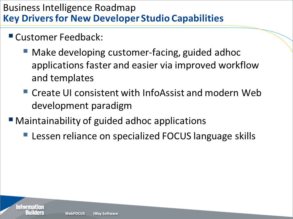 Business Intelligence Roadmap Key Drivers for New Developer Studio Capabilities  Customer Feedback:  Make developing customer-facing, guided adhoc a