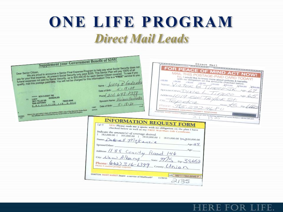 ONE LIFE PROGRAM Direct Mail Leads