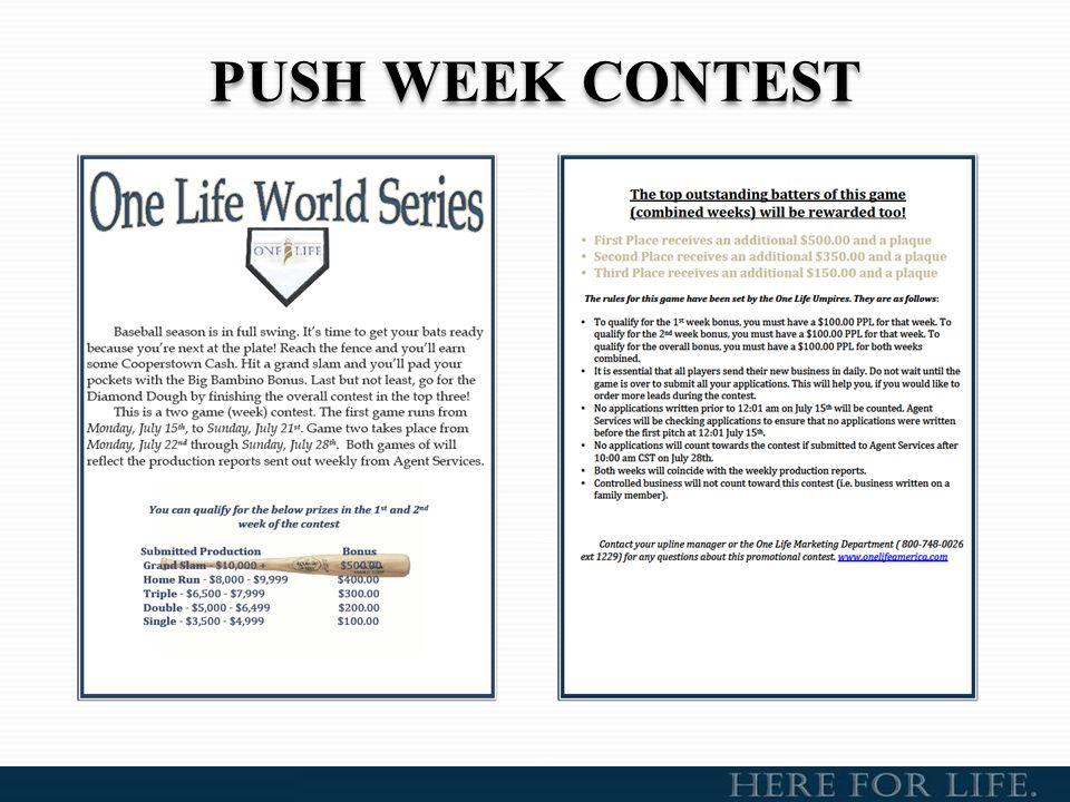 ONE LIFE PROGRAM 2014 Quarterly Cash Contest