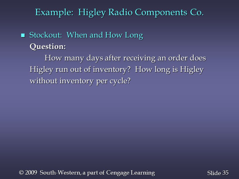 35 Slide © 2009 South-Western, a part of Cengage Learning n Stockout: When and How Long Question: How many days after receiving an order does Higley r