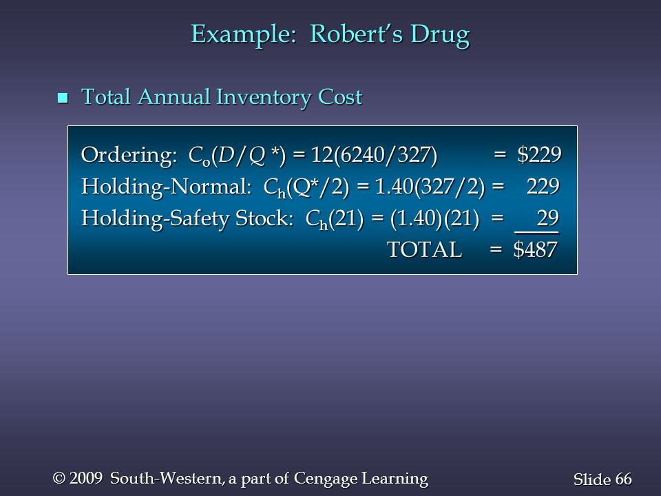 66 Slide © 2009 South-Western, a part of Cengage Learning Example: Robert's Drug n Total Annual Inventory Cost Ordering: C o ( D / Q *) = 12(6240/327)