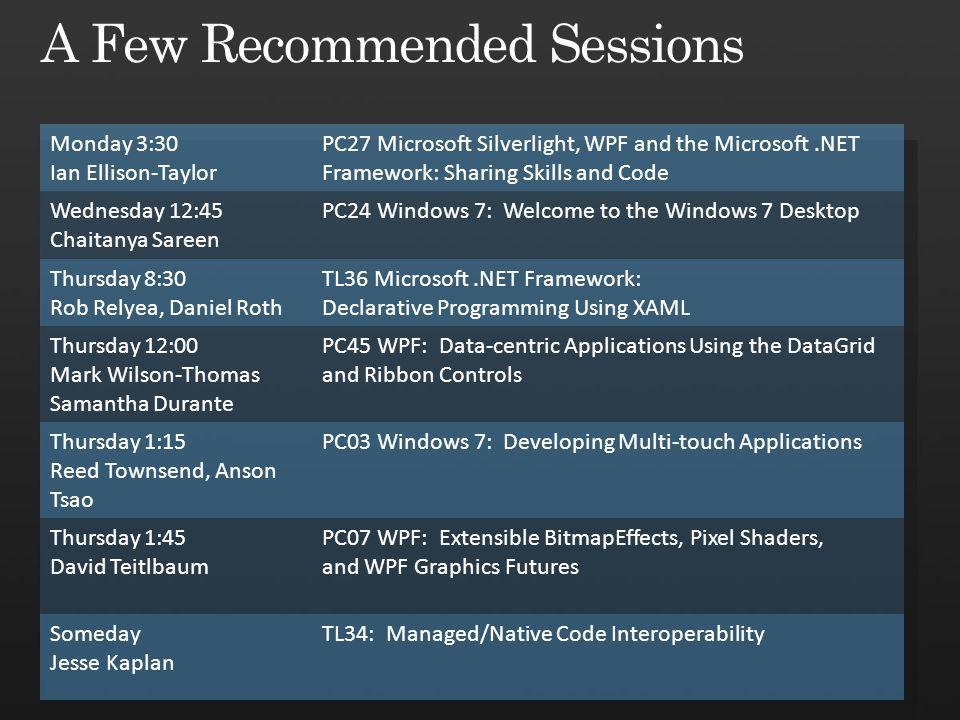 Monday 3:30 Ian Ellison-Taylor PC27 Microsoft Silverlight, WPF and the Microsoft.NET Framework: Sharing Skills and Code Wednesday 12:45 Chaitanya Sare