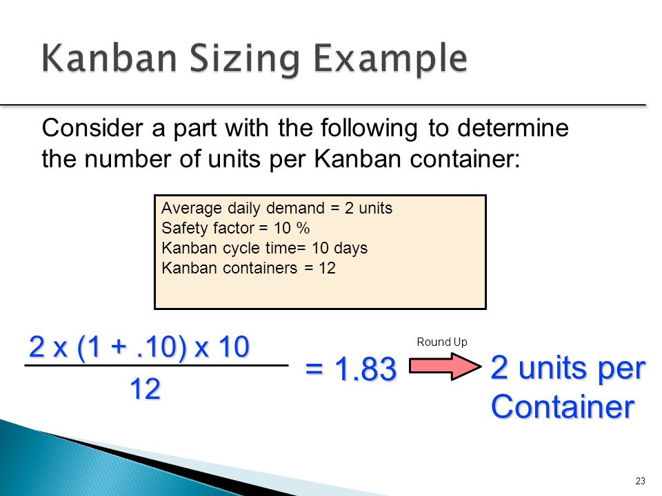 Consider a part with the following to determine the number of units per Kanban container: Average daily demand = 2 units Safety factor = 10 % Kanban c
