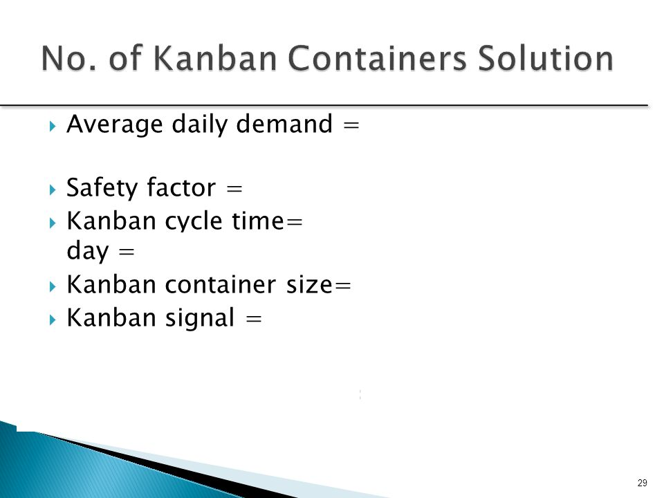  Average daily demand = 50 + 40 + 10 = 100 pieces  Safety factor = 10%  Kanban cycle time= 15 hours / 24 hours per day =.625 days  Kanban containe