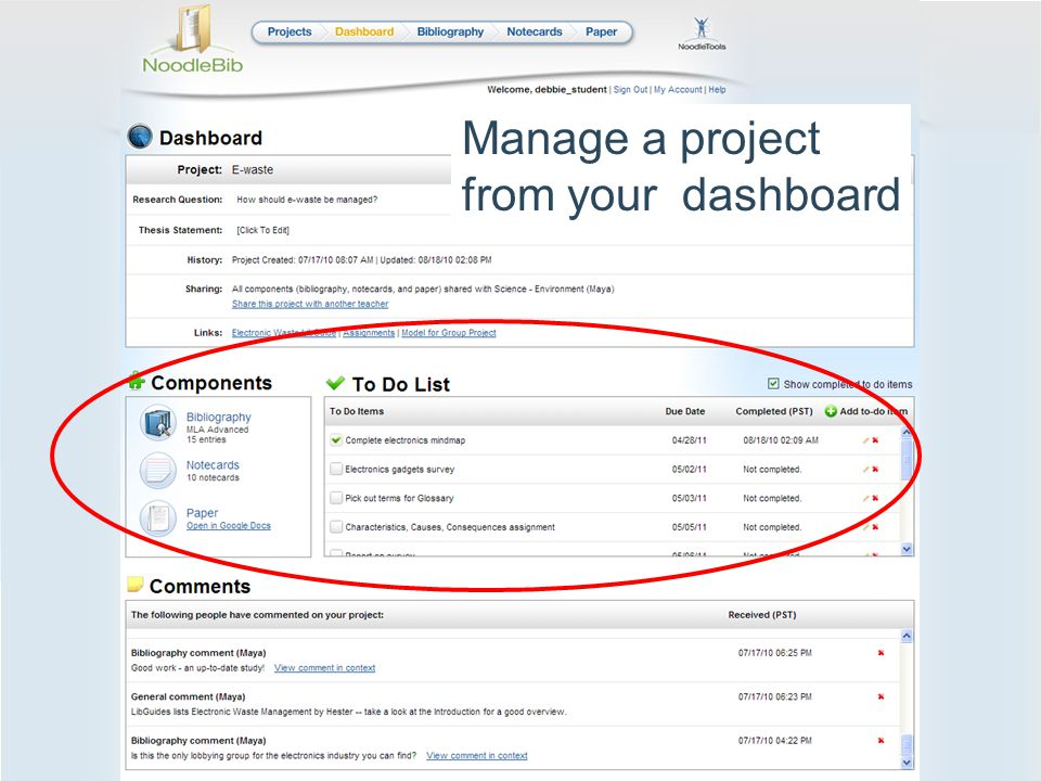 Manage a project from your dashboard