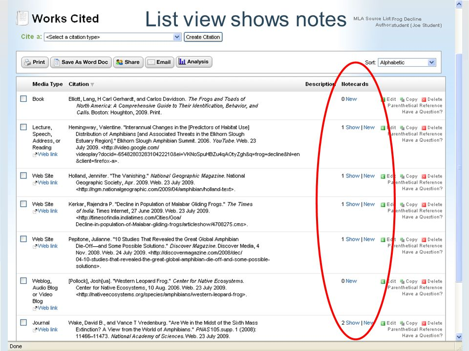 List view shows notes
