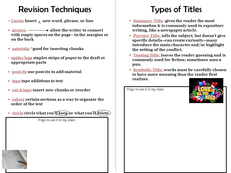 Ways to use it in my class: Revision Techniques Carets Insert new word, phrase, or line arrows allow the writer to connect with empty spaces on the page—in the margins or on the back asterisks *good for inserting chunks spider legs staples strips of paper to the draft at appropriate parts post-its use post-its to add material tape tape additions to text cut & tape insert new chunks or reorder colors certain sections as a way to organize the order of the text circle circle what you'll keep or what you'll delete Types of Titles Summary Title: gives the reader the most information & is commonly used in expository writing, like a newspaper article.