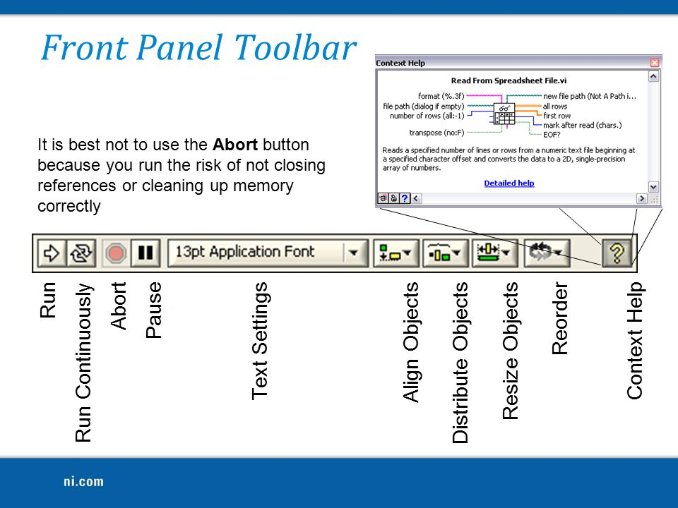 Front Panel Toolbar Run Run Continuously Abort Pause Text Settings Align Objects Distribute Objects Resize Objects Reorder Context Help It is best not to use the Abort button because you run the risk of not closing references or cleaning up memory correctly