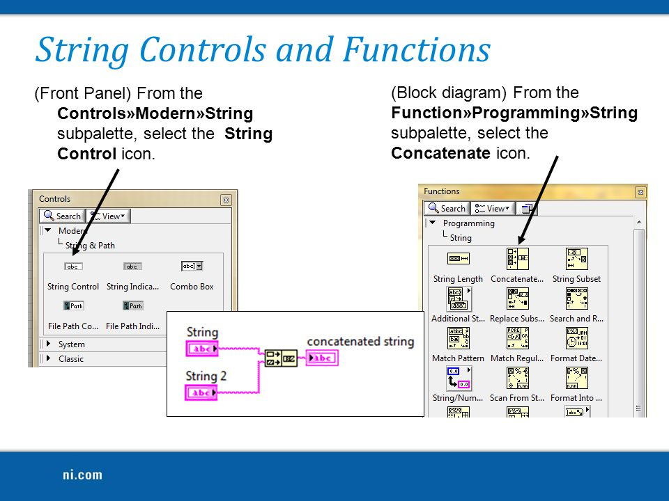 String Controls and Functions (Front Panel) From the Controls»Modern»String subpalette, select the String Control icon.