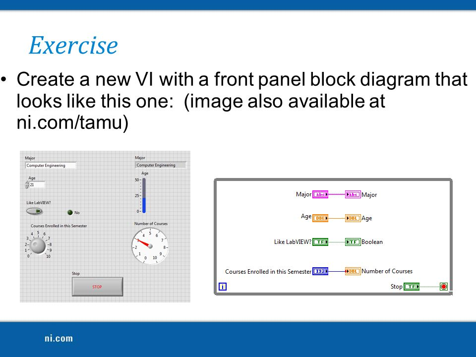Create a new VI with a front panel block diagram that looks like this one: (image also available at ni.com/tamu) Exercise