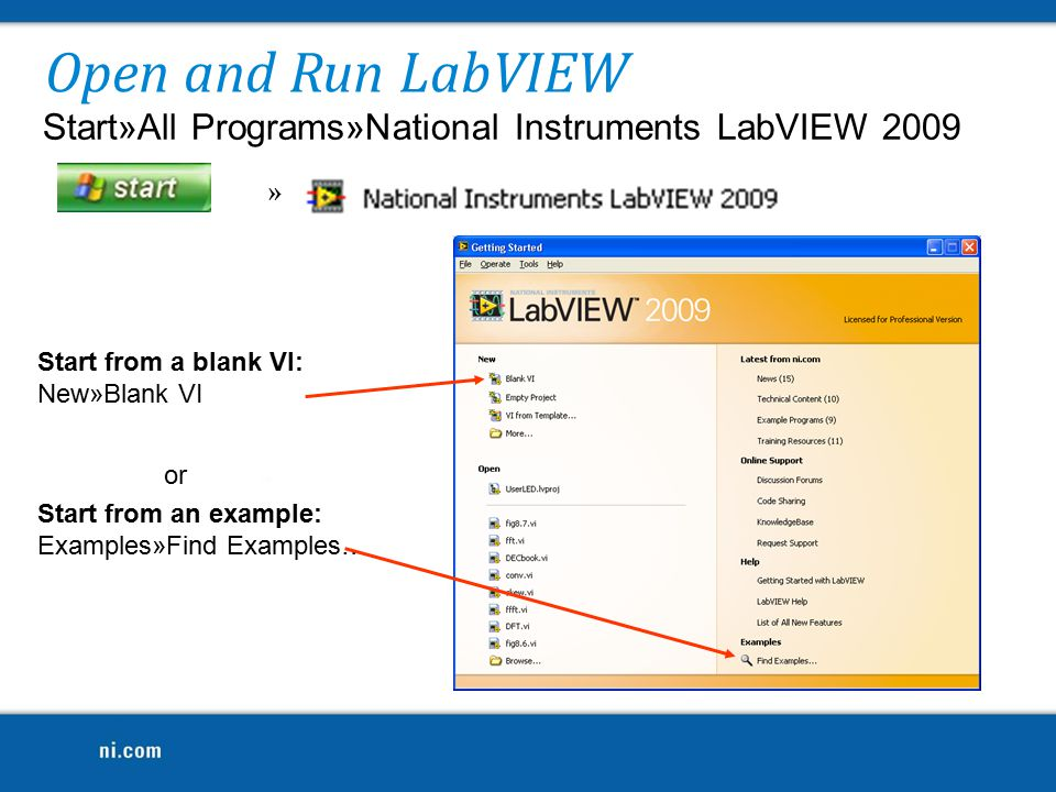 Use LabVIEW Projects to: Group LabVIEW files and non-LabVIEW files Create build specifications (i.e.