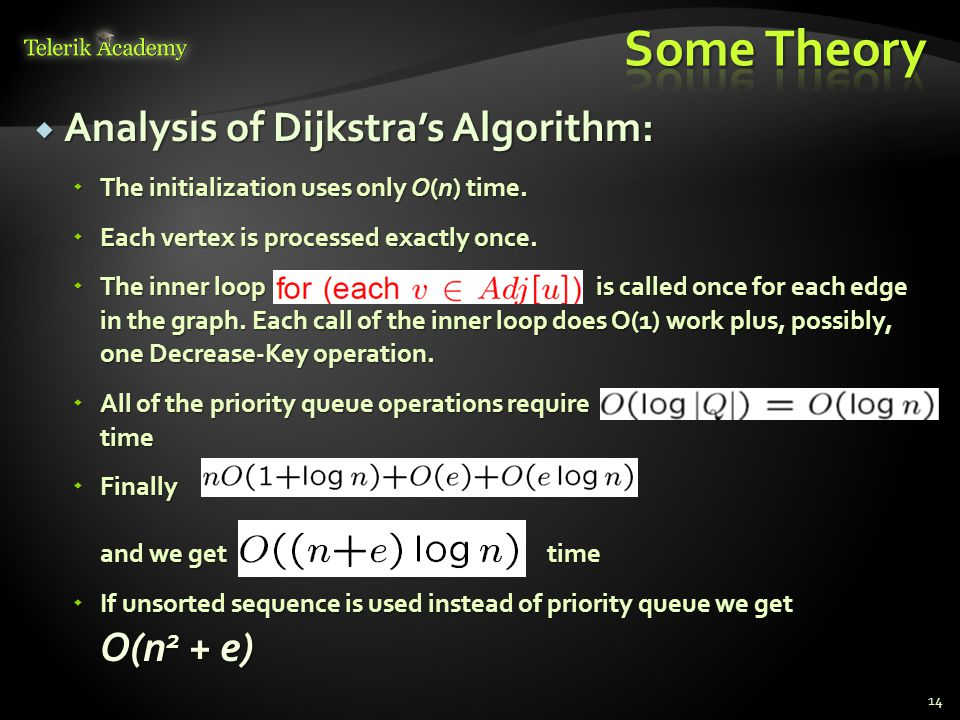  Analysis of Dijkstra's Algorithm:  The initialization uses only O(n) time.  Each vertex is processed exactly once.  The inner loop is called once