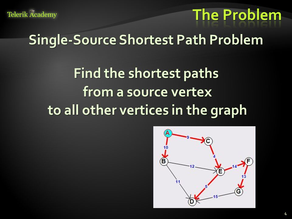 Single-Source Shortest Path Problem Find the shortest paths from a source vertex to all other vertices in the graph 4
