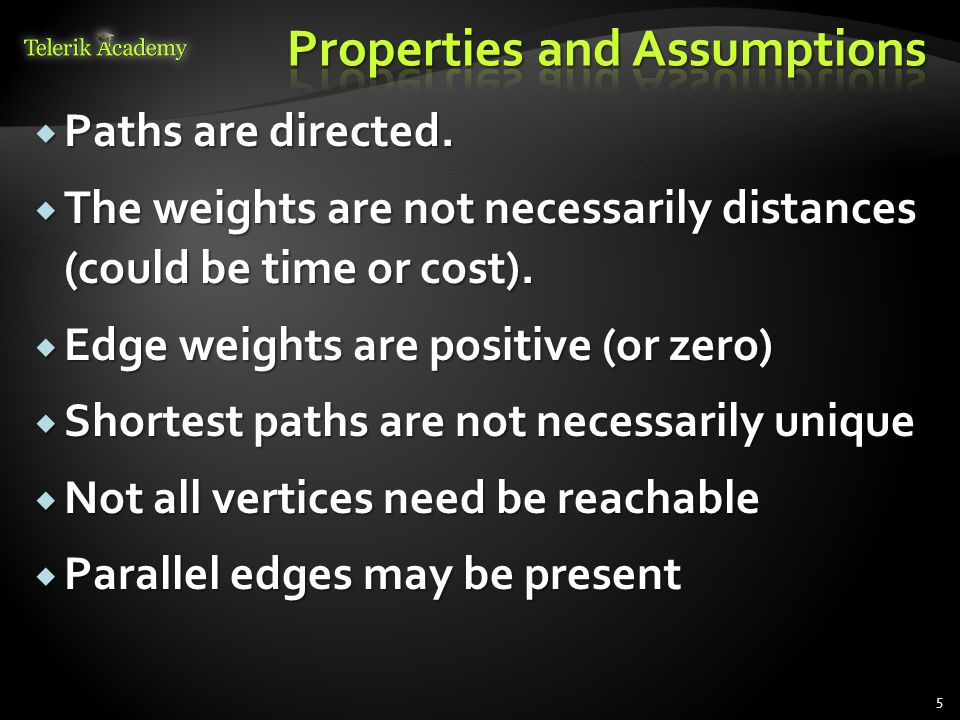  Paths are directed.  The weights are not necessarily distances (could be time or cost).