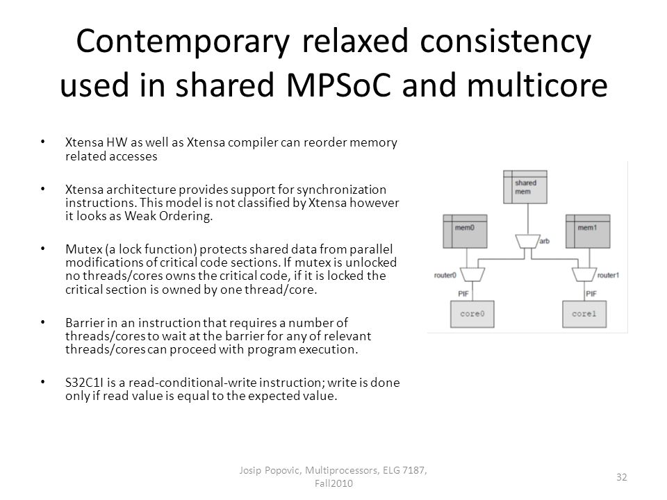 Contemporary relaxed consistency used in shared MPSoC and multicore Xtensa HW as well as Xtensa compiler can reorder memory related accesses Xtensa architecture provides support for synchronization instructions.