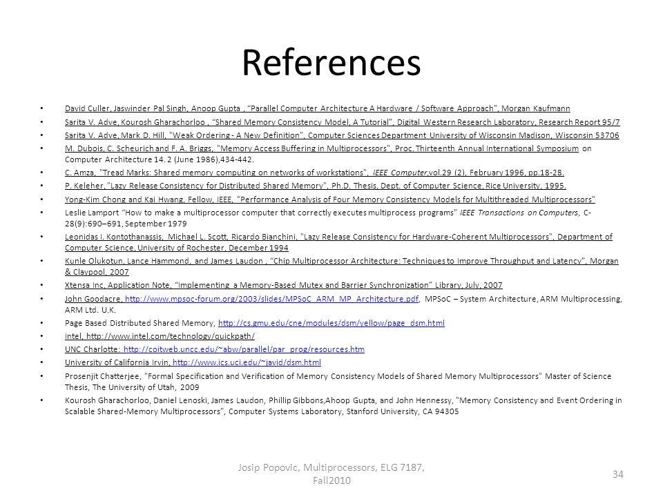 "References David Culler, Jaswinder Pal Singh, Anoop Gupta, ""Parallel Computer Architecture A Hardware / Software Approach"", Morgan Kaufmann Sarita V."