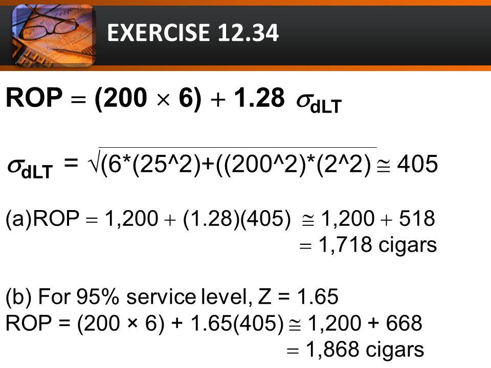 ROP  (200  6)  1.28  dLT  dLT = √(6*(25^2)+((200^2)*(2^2)  405 (a)ROP  1,200  (1.28)(405)  1,200  518  1,718 cigars (b) For 95% service level, Z = 1.65 ROP = (200 × 6) + 1.65(405)  1,200 + 668  1,868 cigars