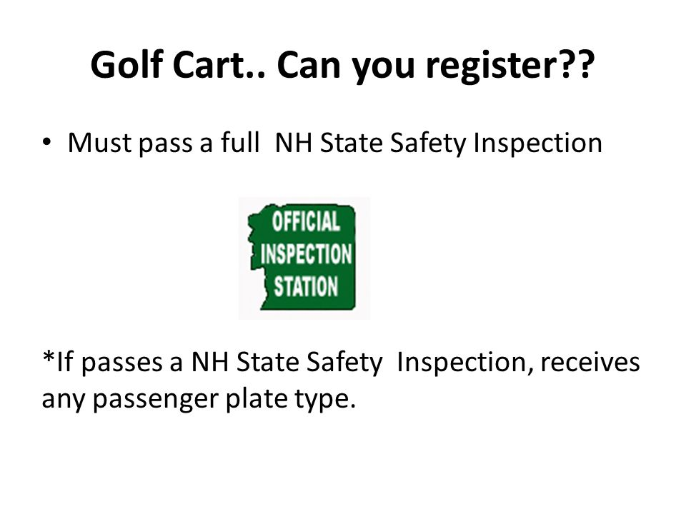 Golf Cart.. Can you register .