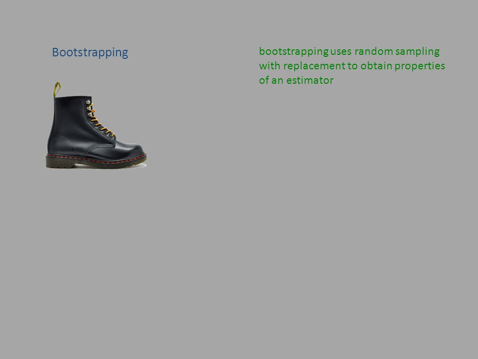 Bootstrapping bootstrapping uses random sampling with replacement to obtain properties of an estimator
