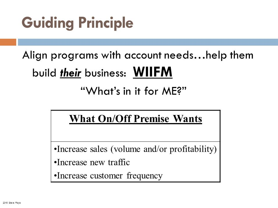 Guiding Principle Align programs with account needs…help them build their business: WIIFM What's in it for ME What On/Off Premise Wants Increase sales (volume and/or profitability) Increase new traffic Increase customer frequency © 2015 Steve Raye