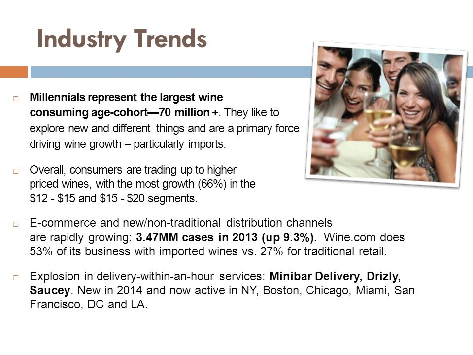 Industry Trends  Millennials represent the largest wine consuming age-cohort—70 million +.
