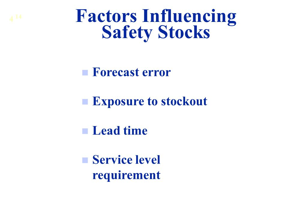 Factors Influencing Safety Stocks Forecast error Exposure to stockout Lead time Service level requirement 4 14