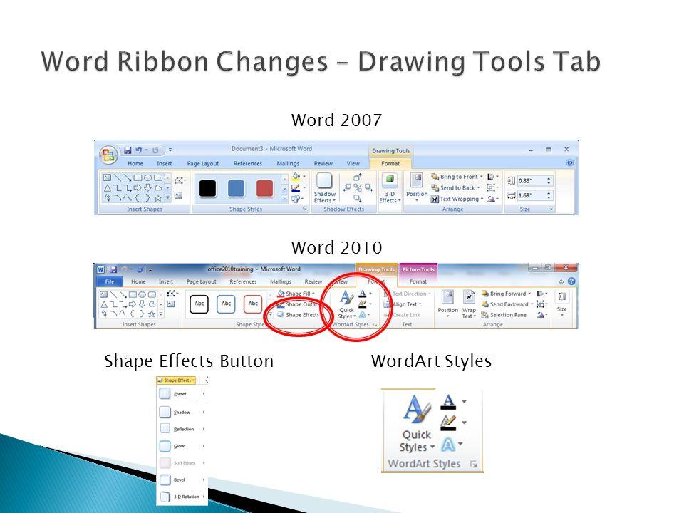 Word 2007 Word 2010 Shape Effects ButtonWordArt Styles