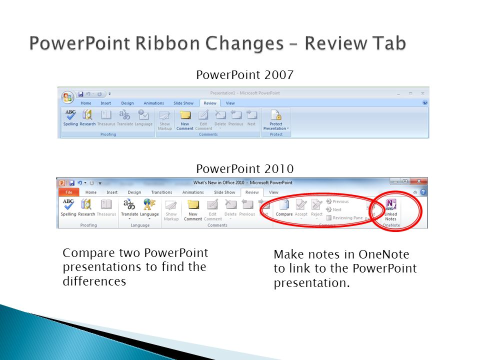 PowerPoint 2007 PowerPoint 2010 Compare two PowerPoint presentations to find the differences Make notes in OneNote to link to the PowerPoint presentation.