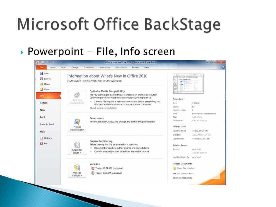  Powerpoint - File, Info screen