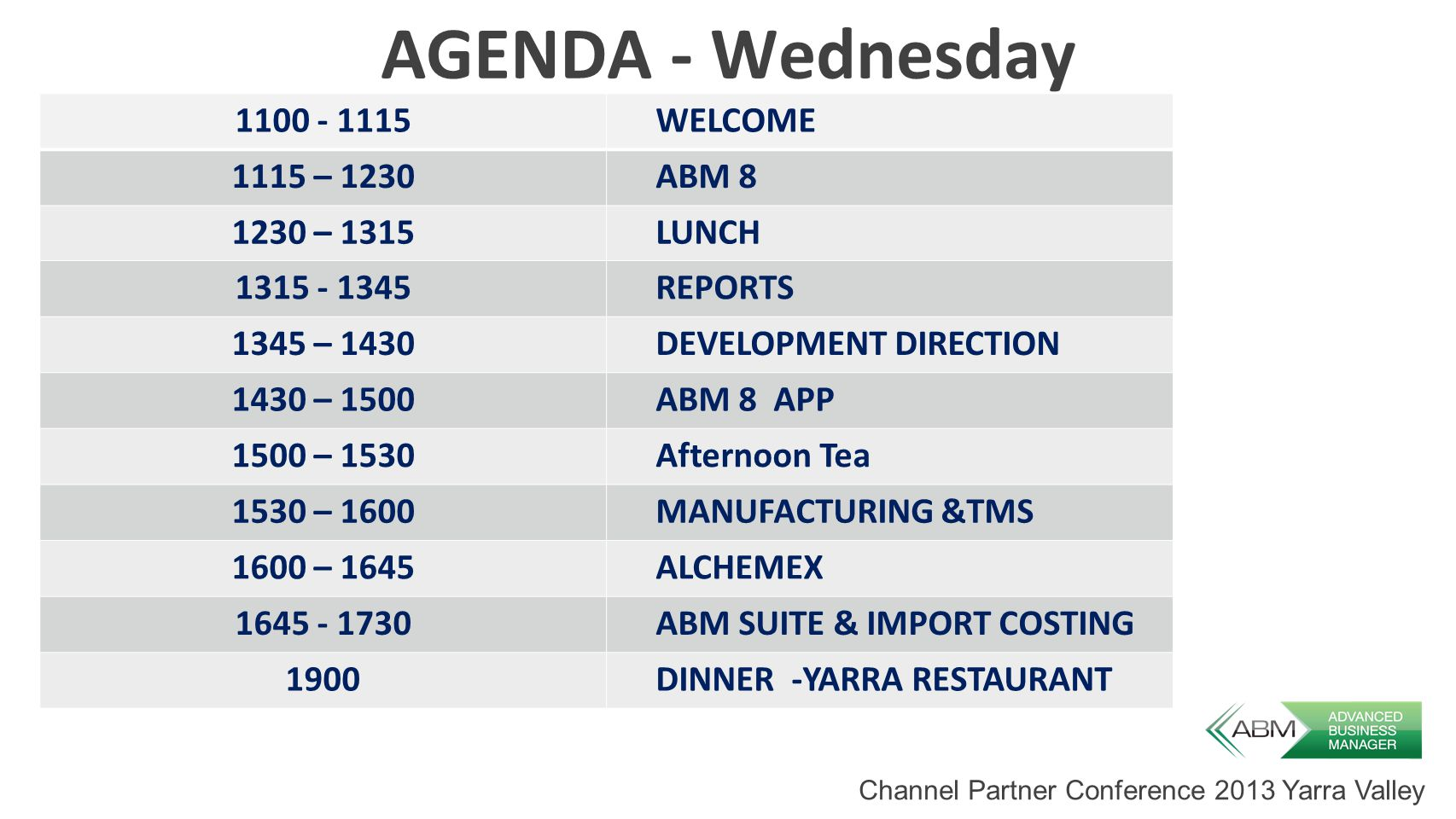 AGENDA - Wednesday 1100 - 1115WELCOME 1115 – 1230ABM 8 1230 – 1315LUNCH 1315 - 1345REPORTS 1345 – 1430DEVELOPMENT DIRECTION 1430 – 1500ABM 8 APP 1500 – 1530Afternoon Tea 1530 – 1600MANUFACTURING &TMS 1600 – 1645ALCHEMEX 1645 - 1730ABM SUITE & IMPORT COSTING 1900DINNER -YARRA RESTAURANT