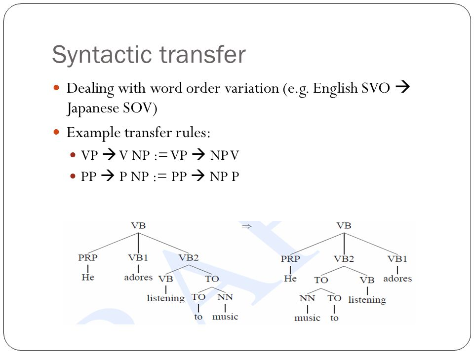 Syntactic transfer Dealing with word order variation (e.g.