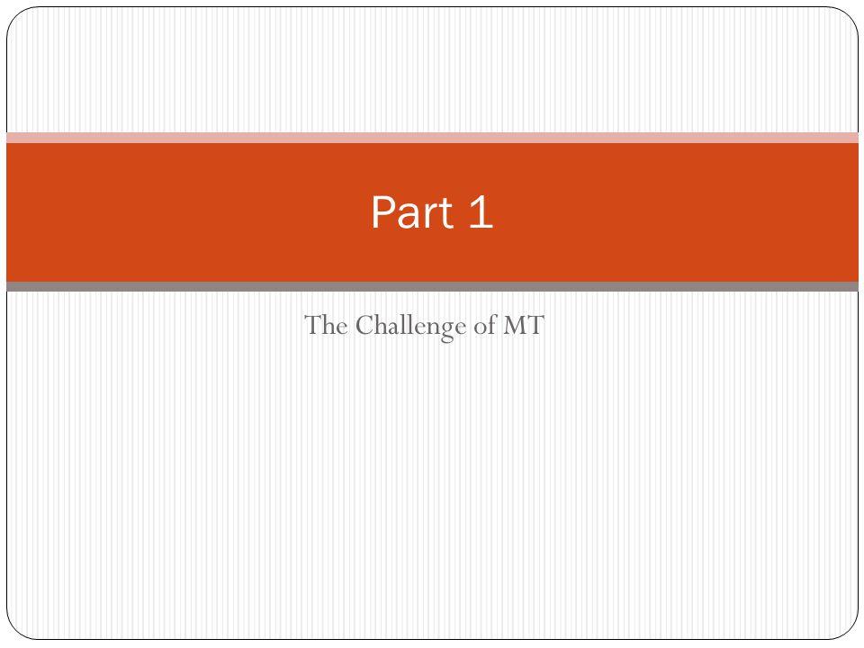 The Challenge of MT Part 1