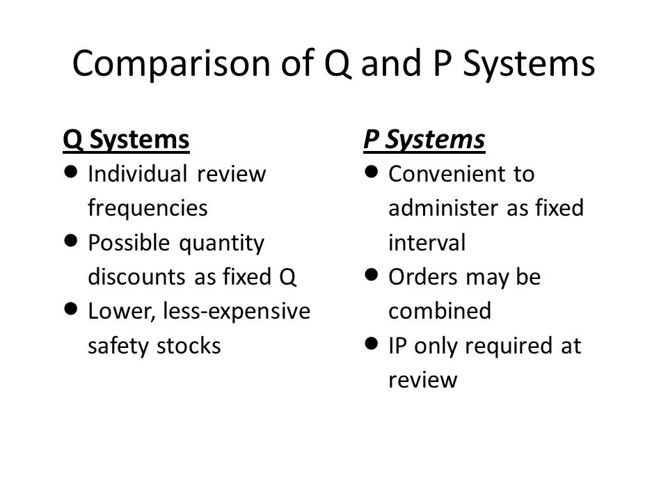 Comparison of Q and P Systems P Systems  Convenient to administer as fixed interval  Orders may be combined  IP only required at review Q Systems 