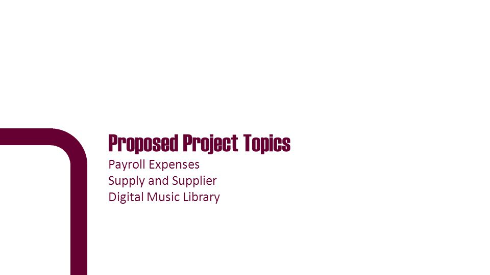 Proposed Project Topics Payroll Expenses Supply and Supplier Digital Music Library